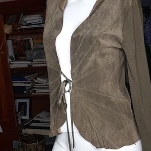 Nougat London Leather and Silk sweater jacket